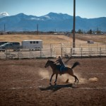 A participant in Family Ranch Sunday races to the finish line at the Siera Vista Riding Club on January 8, 2012.