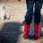 Chloe Larimer sports red boots during the Family Ranch Sunday at the Sierra Vista Cowboy Church on January 8, 2012.